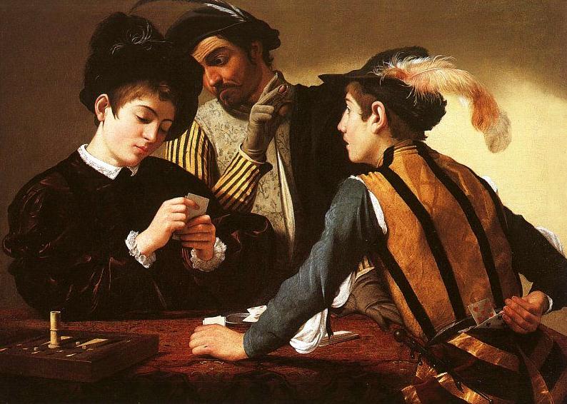Caravaggio: I bari.  Dipinto olio su tela di 94 × 131 cm realizzato nel 1594. Conservato nel Kimbell Art Museum di Fort Worth - Dallas- Texas