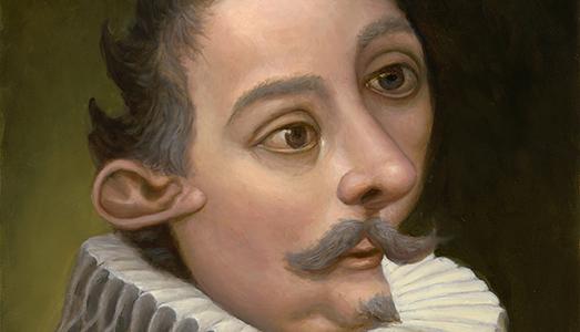 Marion Peck: Man with a ruf, 30 x 40 cm, olio su tavola