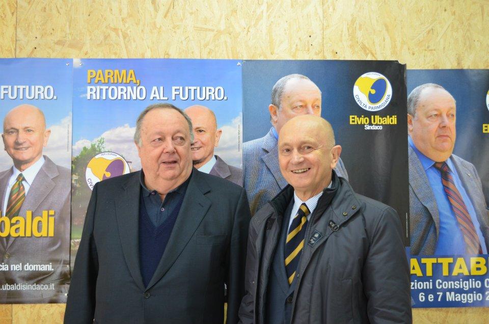 Franco Cattabiani a sinistra con Elvio Ubaldi nella campagna elettorale 2012