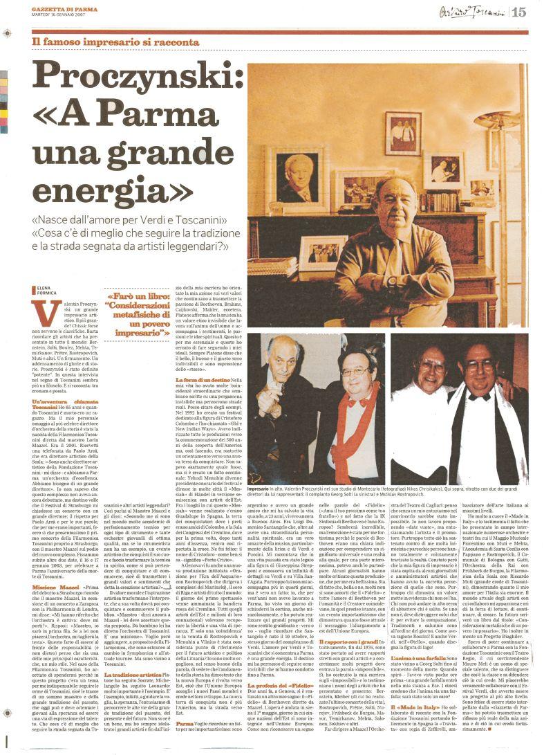 Pagina della Gazzetta di Parma su Proczynski