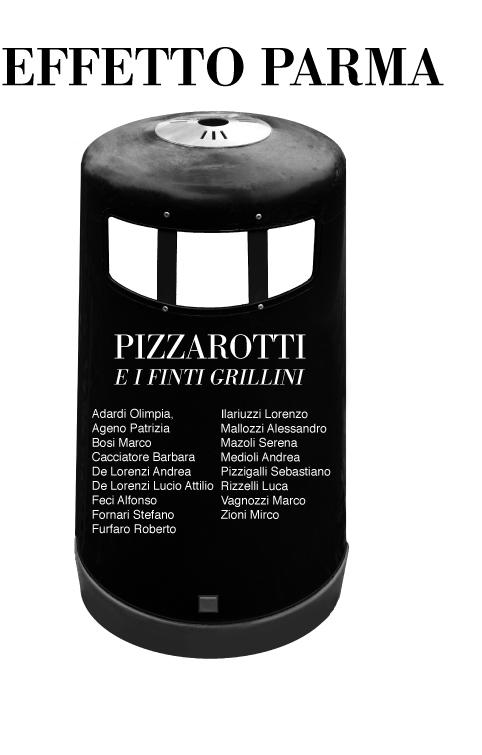 Opera grafica di Luigi Boschi: Bidone Effetto Parma- Pizzarotti e i Finti Grillini