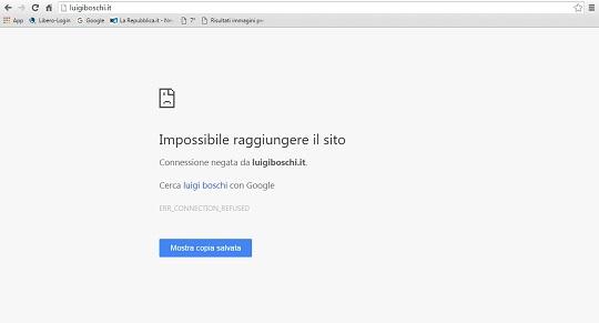 screnshot impossibile raggiungere il sito