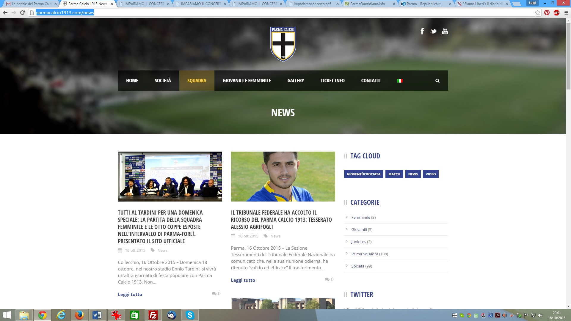 screenshot siteweb Parmacalcio 1913