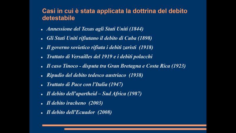 Casin storici in cui è stato applicato il debito detestabile