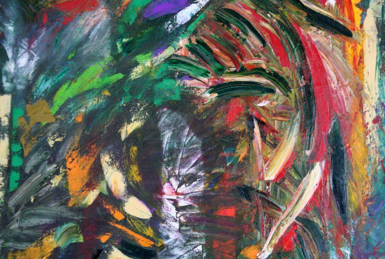 Luigi Boschi: Follia - opera olio su Yuta 80x185