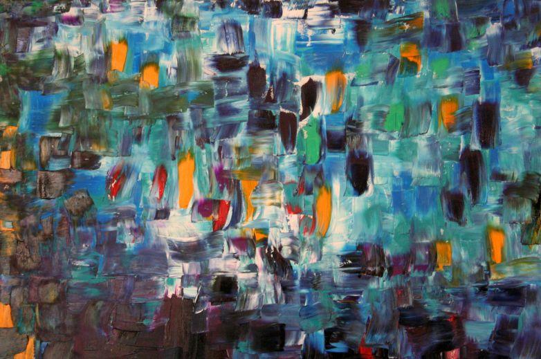 Luigi Boschi -opera: LUCI - olio su tela 100x100