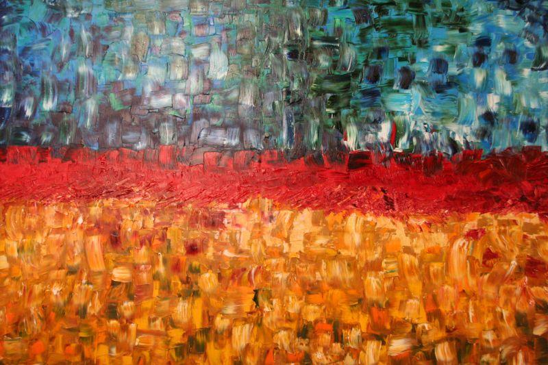 Luigi Boschi - opera - Frattura insanabile - olio su tela 120x150