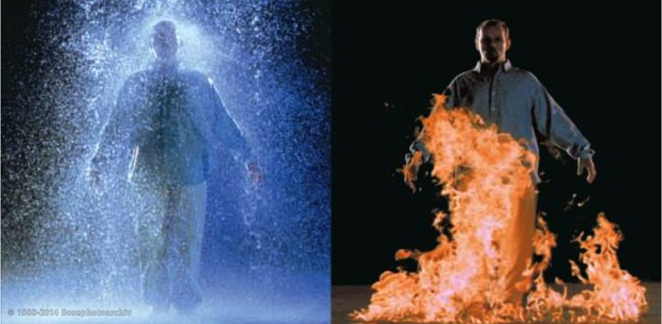 Bill Viola (nato nel 1951 a New York, The Crossing (Il passaggio), 1996, video su due schermi opposti con 4 canali audio, durata 10 min. e 57 sec.,4,9 x 8,4 x 17,4 m, Solomon R. Guggenheim Museum, New York.