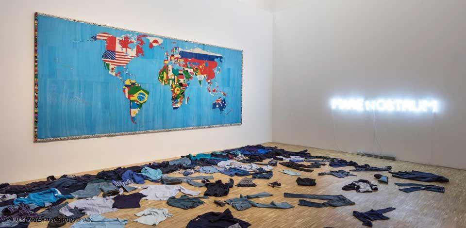 Una sala della mostra 'La terra inquieta' presso la Triennale di Milano fino al 20 agosto 2017.