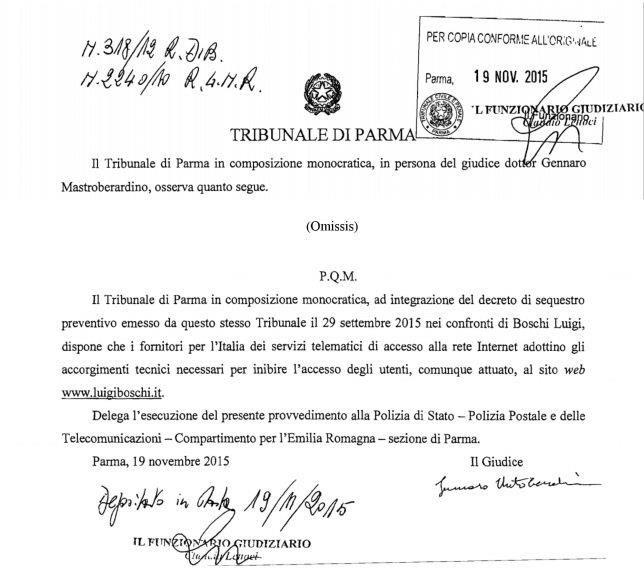 Provvedimento di sequestro del Tribunale di Parma